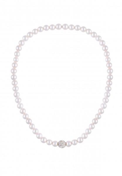 Leslii Damenkette Perlencollier aus Muschelkernperlen mit Strass