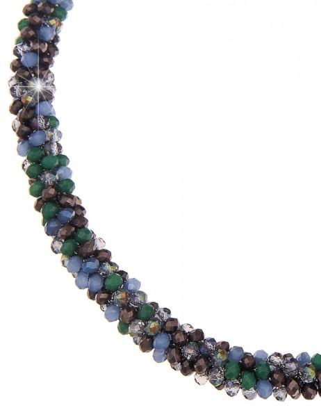 -50% SALE Leslii Halskette Kristallkorn Grün Blau | kurze Damen-Kette Mode-Schmuck | 45cm mit Magnet