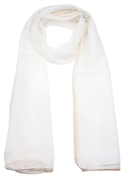 LAST CHANCE Leslii Uni Geflochten Weiß Beige | Trendiger Schal | Damen Mode-Accessoire | 180cm x 54c