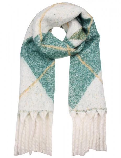 Leslii Damen XXL-Schal Rauten-Muster aus Polyester 180cm x 46cm Grün Weiß 900117244