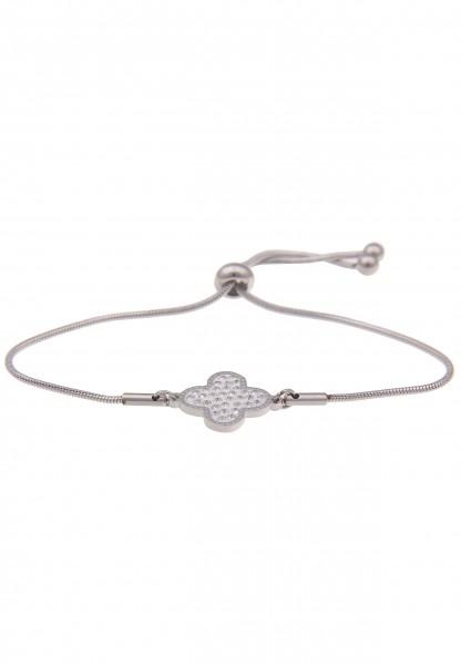 Leslii Damenarmband Glitzer Blumen-Armband Blumen-Schmuck silbernes Modeschmuck-Armband Armschmuck v