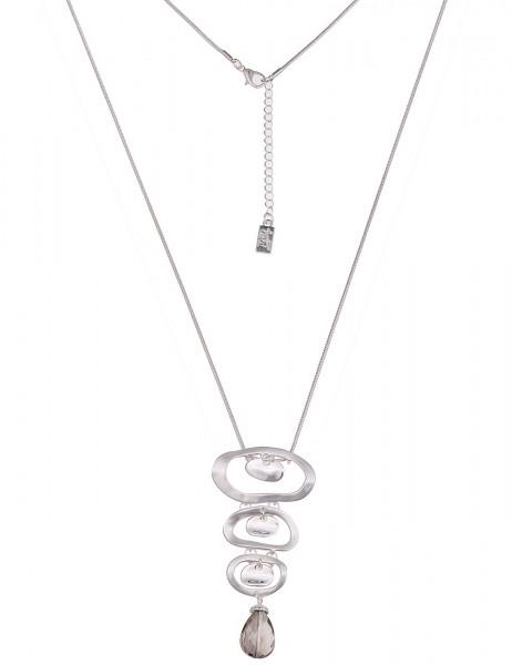 Leslii Damenkette Glas Tropfen aus Metalllegierung Länge 80cm in Silber Grau Matt Hochglanz