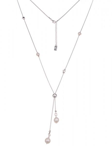 Leslii Damenkette Perlensammler aus Metalllegierung mit Süßwasser-Zuchtperle Länge 80cm in Silber We
