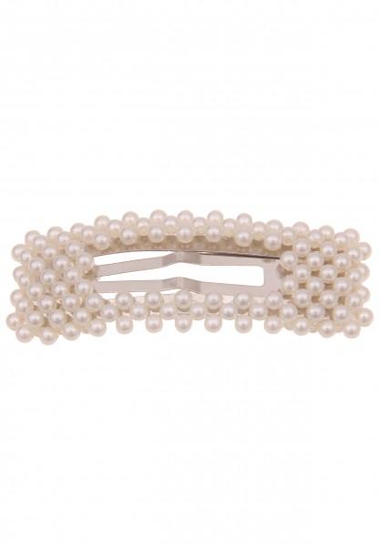 Leslii Damen Statement Haar-Spange Perlen-Haarschmuck weiße Haar-Klammer Frisur Perlen-Schmuck Mode-