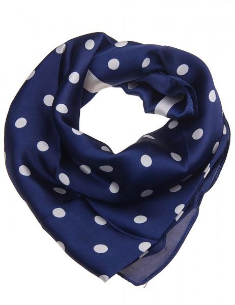 Leslii Damen Schal Tuch Punkte Dots aus Polyester Größe 90cm x 90cm in Blau Beige 900117801