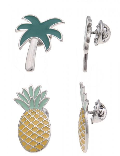 LAST CHANCE Leslii Pin Anstecker Set Ananas & Palme | Damen-Accessoires Mode-Schmuck | Ananas 3cm -