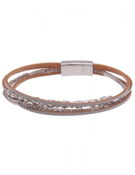 Leslii Damen-Armband veganes Leder-Armband Glasperlen mehrfaches Armband graues Modeschmuck-Armband