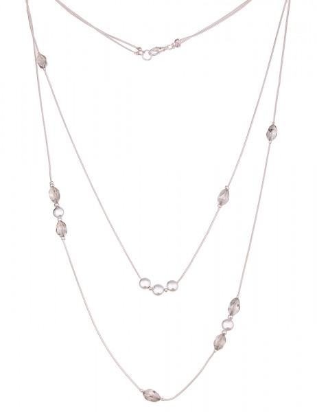 Leslii Damen-Kette Glas Ringe Silber Grau Metalllegierung Hochglanz 90cm + Verlängerung 220116942