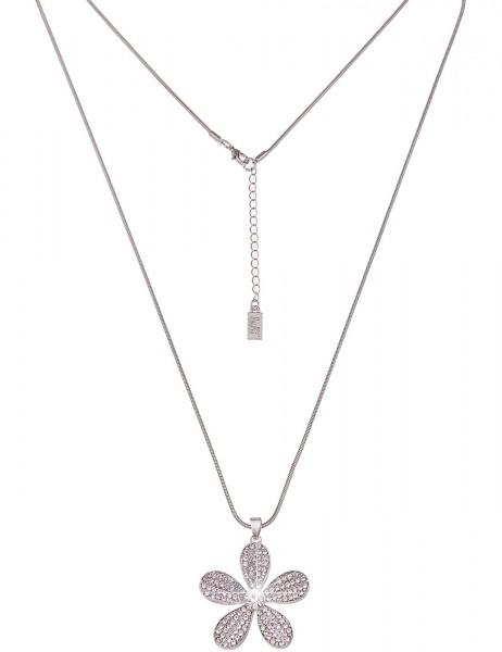 Leslii Damenkette Glitzer Blume aus Metalllegierung mit Strass Länge 83cm in Silber Weiß