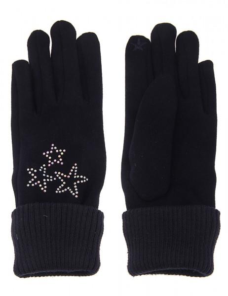 Leslii Damen Handschuhe Strass Glitzer Sterne aus Baumwolle und Polyester Größe One Size in Dunkelbl