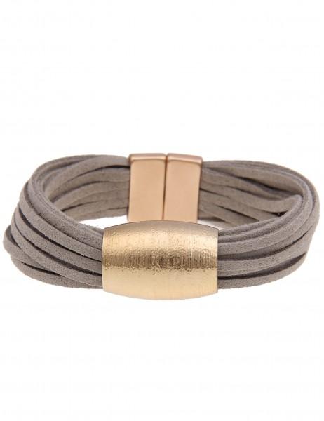 Leslii Damen-Armband Statement Look Grau Gold Metalllegierung Lederimitat 19cm mit Magnetverschluss