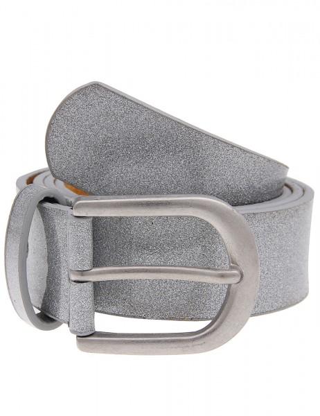 Leslii Gürtel Glitzer Schimmer Silber | Damen-Gürtel Mode-Accessoire | Breite 3,2cm