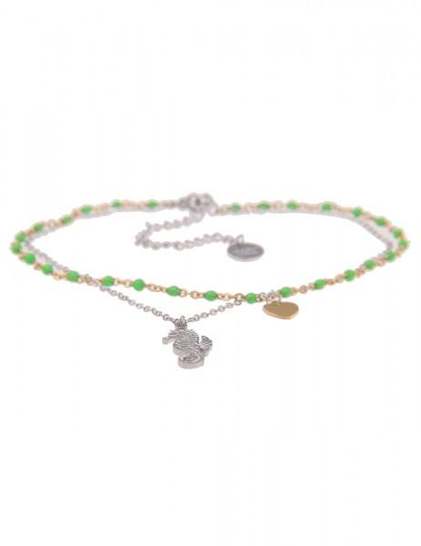 Leslii Fuß-Kette Bicolor Fußkettchen Damen Mädchen Seepferdchen Herz Fuß-Schmuck silberner Modeschmu