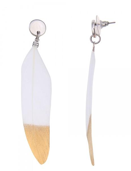 -50% SALE Leslii Damen-Ohrringe Ohrhänger Metallic Federn Weiß Gold Metalllegierung Länge 8,5cm 2302