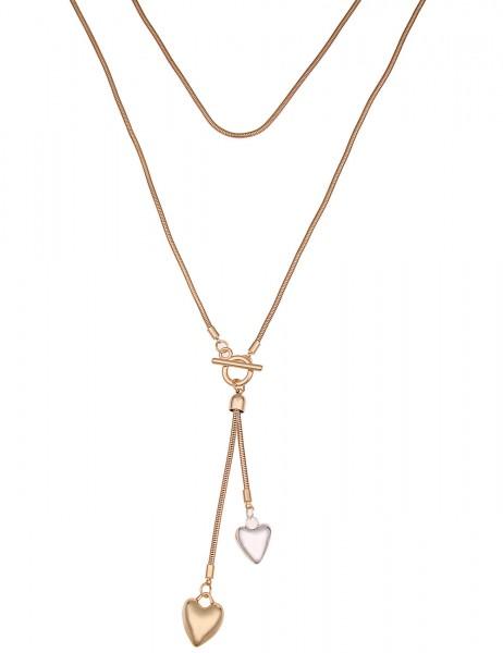 Leslii Damenkette Herzspiel aus Metalllegierung Größe 80cm in Gold Silber