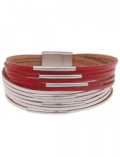 Leslii Damenarmband Fashion Statement veganes Lederarmband Modeschmuck-Armband Länge 19cm in Rot Wei