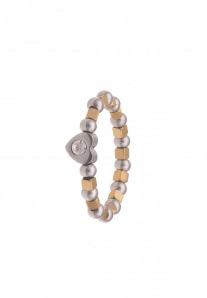 Leslii Damen-Ring Bicolor Herz-Ring Würfel-Ring dehnbarer Strass-Ring Liebe Herz-Schmuck Modeschmuck