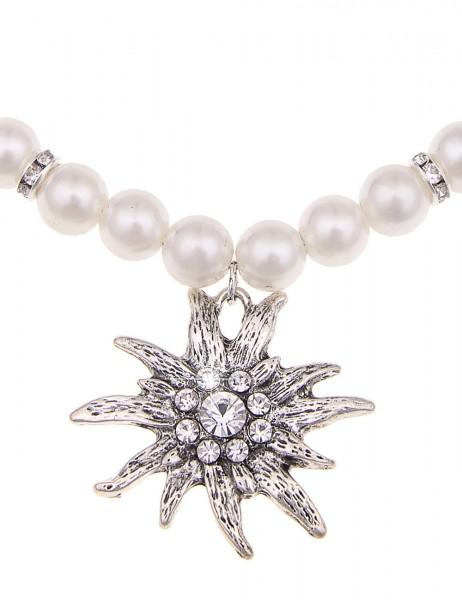 Leslii Oktober-Fest Halskette Perlen Edelweiß Weiß | Damen-Kette Mode-Schmuck | 46cm + Verlängerung