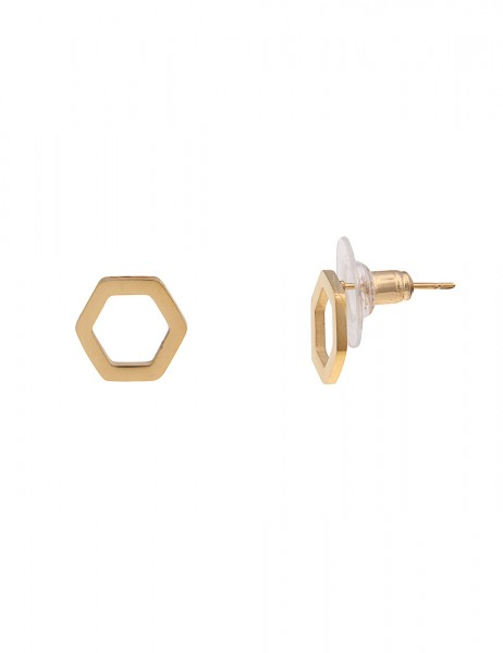 Leslii 4Teen Damenohrringe Ohrstecker Sechseck aus Metalllegierung Länge 1cm in Gold
