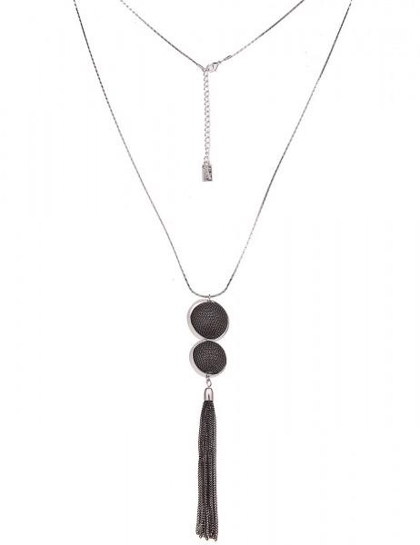 Leslii Damenkette Ketten-Kugel Duo aus Metalllegierung Länge 80cm in Silber Schwarz Gold