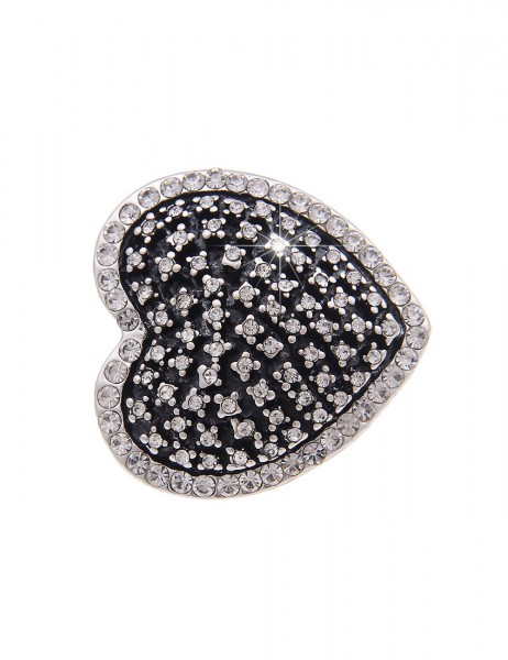 -70% SALE Leslii Ring Glitzer Herz Silber | Trendiger Damen-Ring Mode-Schmuck | Größe: flexibel