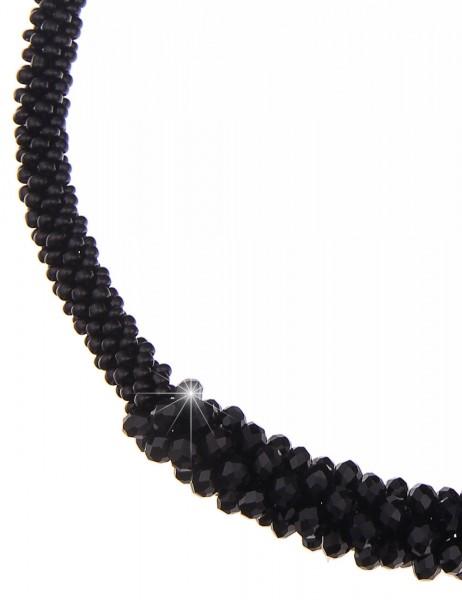 Leslii Halskette Statement Glasperlen Schwarz | kurze Damen-Kette Mode-Schmuck | 50cm + Verlängerung