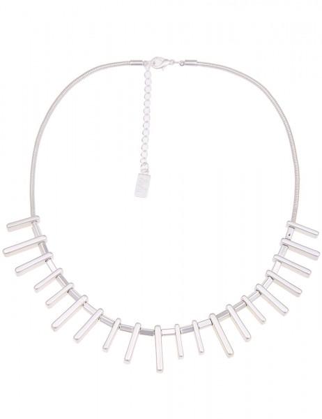 Leslii Halskette Hedgehog Silber Matt | kurze Damen-Kette Mode-Schmuck | 44cm + Verlängerung