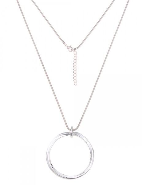 Leslii Damen-Kette Glanz-Ring Silber Metalllegierung 83cm + Verlängerung 220115892