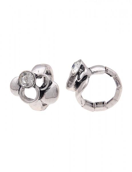 -50% SALE Leslii 4Teen Damenring Glanz-Kreise aus Metalllegierung mit Strass Größe dehnbar in Silber