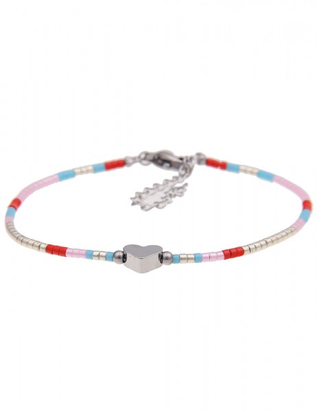 Leslii 4Teen Damenarmband Glanz Herz aus Metalllegierung mit Glasperlen Länge 16cm in Silber Bunt