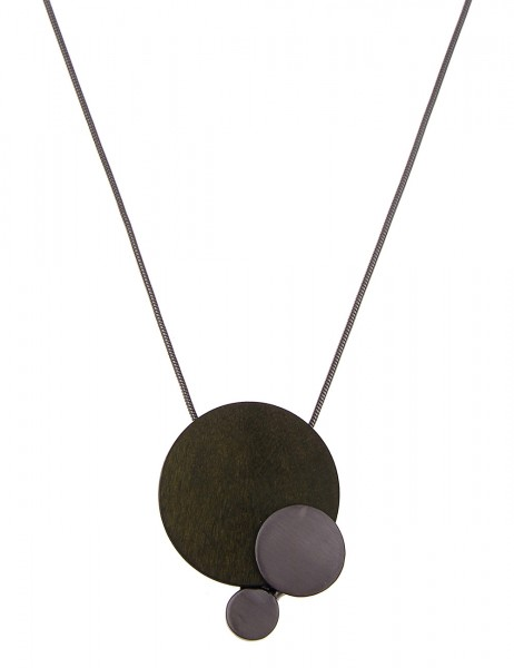 Leslii Halskette Holz-Scheibe Grün Schwarz | lange Damen-Kette Mode-Schmuck | 84cm + Verlängerung