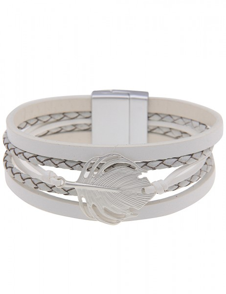 Leslii Damenarmband Matt Feder aus Lederimitat mit Metalllegierung Größe 19cm Silber Weiß