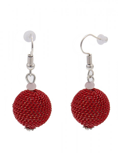 Leslii Damen-Ohrringe Ohrhänger Ketten-Kugel Metalllegierung Länge 3,9cm Rot 230317105