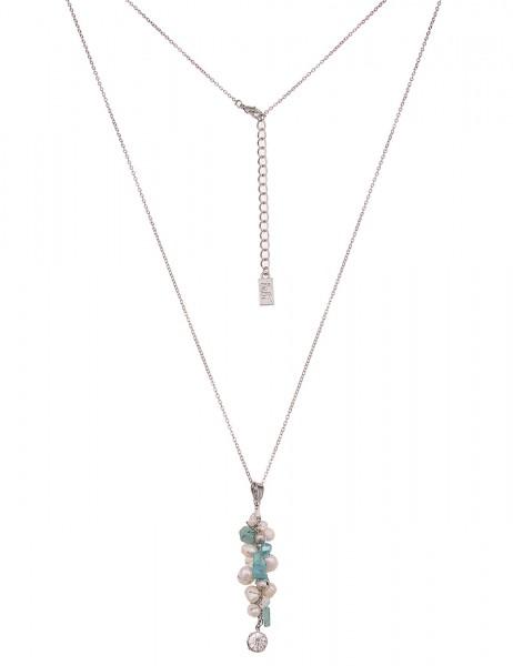 -50% SALE Leslii Damenkette Material Mix aus Metalllegierung mit Naturstein Größe 80cm in Silber Bla
