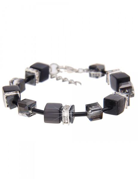 Leslii Damenarmband Premium Glitzer-Würfel aus Metalllegierung mit Naturstein Länge 19cm in Schwarz