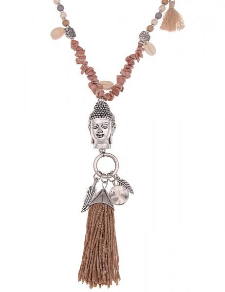 -70% SALE Leslii Lange Halskette Buddha in Silber Braun
