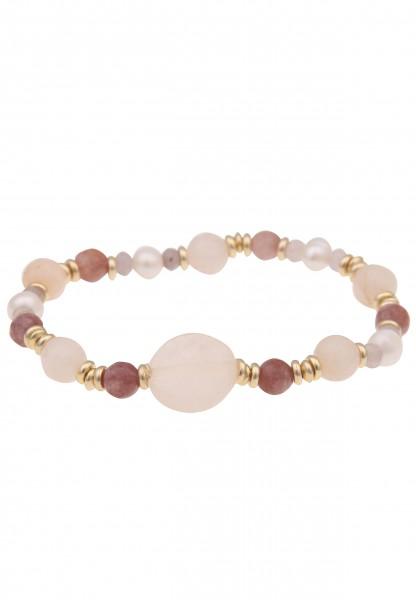 Leslii Damenarmband Naturstein Perle Stein-Armband Perlen-Armband Modeschmuck Länge 19cm in Beige Br