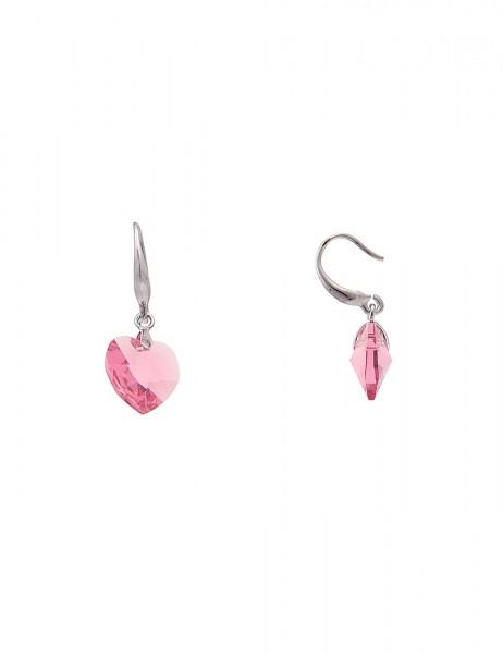 -50% SALE Leslii Damen-Ohrringe Ohrhänger Funkel Herz Silber Rosa Metalllegierung Glasstein 2,7cm 23