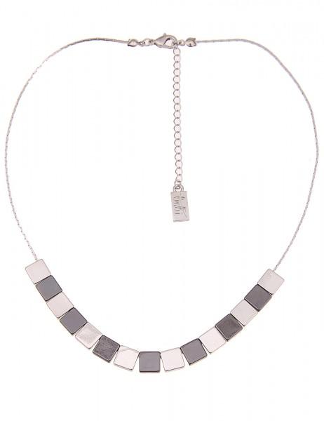 Leslii Damen-Kette Glanz-Quadrate Silber Schwarz Metalllegierung Hochglanz 42cm + Verlängerung 21011