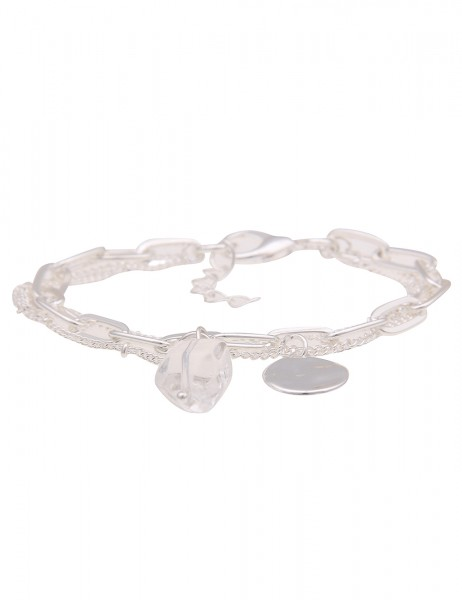 Leslii Damen-Armband Glieder-Armband Panzer-Armband Glas Statement-Armband silbernes Modeschmuck-Arm