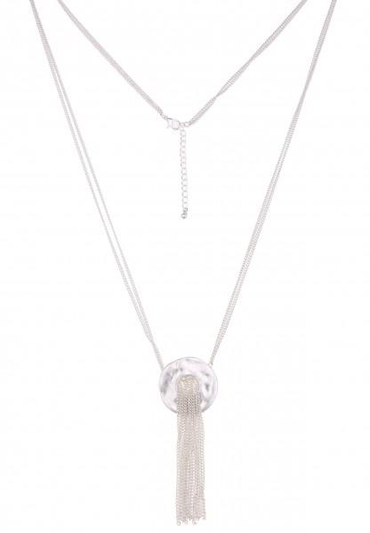 -70% SALE Leslii Halskette Kettenring Silber | lange Damen-Kette Mode-Schmuck | 80cm + Verlängerung