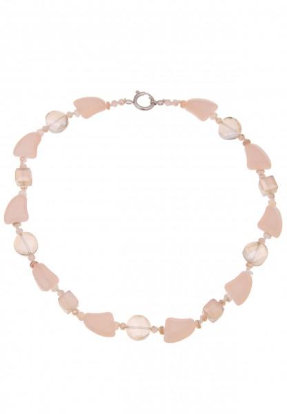 Leslii Damenkette Glas-Steine Statement Halskette kurze Modeschmuck-Kette Glas-Schmuck Länge 49cm in