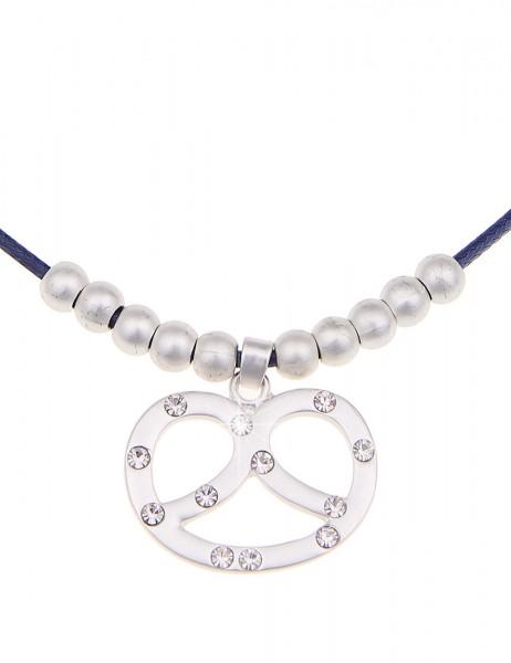 Leslii Oktober-Fest Halskette Tracht Brezel Blau | kurze Damen-Kette Mode-Schmuck | 43cm