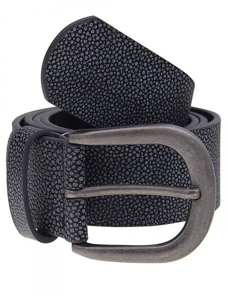 Leslii Damen-Gürtel Muster Look Schwarz Grau 100% Polyurethan Breite 3,8cm 500215785