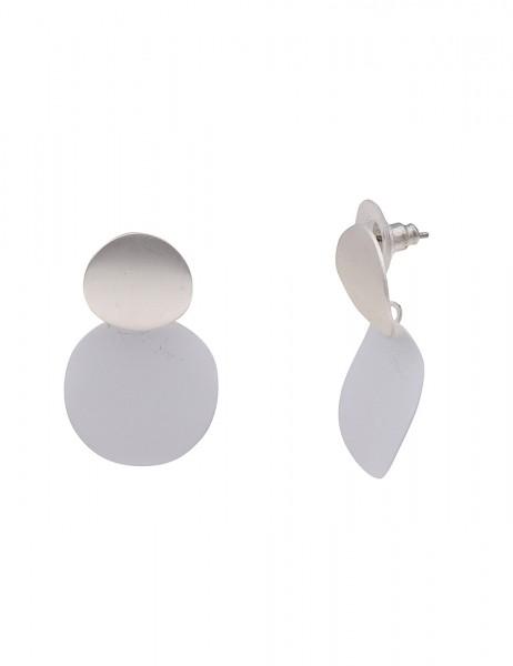 Leslii Damenohrringe Ohrhänger Double Matt aus Metalllegierung Länge 3,1cm in Silber Weiß