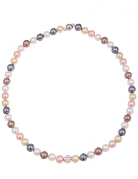 Leslii Damen-Kette Muschelkernperlen Collier Bunt Perlen Strass 44,5cm mit Magnet-Verschluss 2102163
