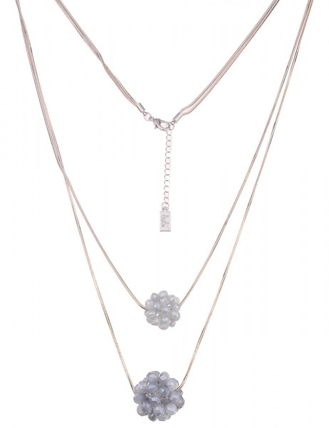 Leslii Damen-Kette Glasperlen-Kugeln Grau Weiß Metalllegierung 90cm + Verlängerung 220116591