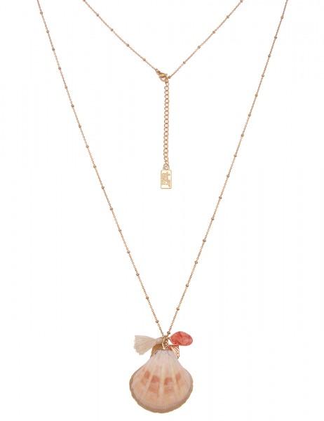 Leslii Damen-Kette zarte Glieder-Kette Muschel-Kette Muschel-Anhänger lange Halskette goldene Modesc