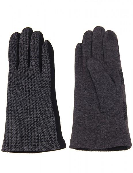 Leslii Damen Handschuhe Hahnentritt Muster aus Polyester und Baumwolle Größe One Size in Grau