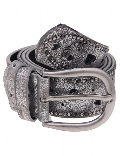 Leslii Damen-Gürtel Herzmuster Metallic Silber 100% Polyurethan Breite 3,8cm 500117669
